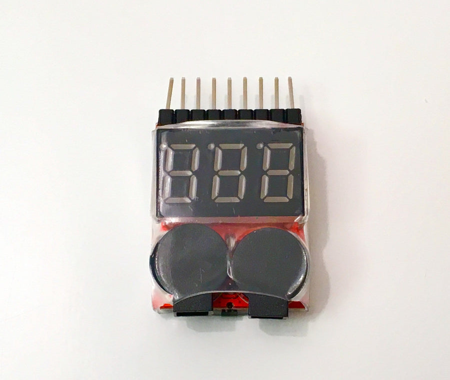 Lipo Battery Voltage Tester Low Voltage Buzzer Alarm 1s to 8s - Urban Drones