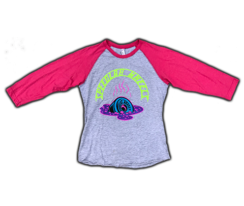 Ladies Raglan 3/4 sleeve T-Shirt 'Melting Wheel' (Heather/Pink)