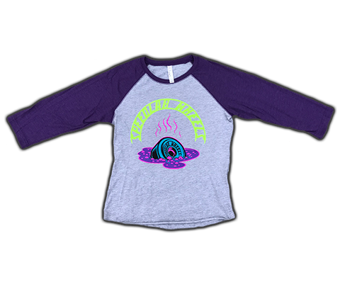 Ladies Raglan 3/4 sleeve T-Shirt 'Melting Wheel' (Heather/Purple)