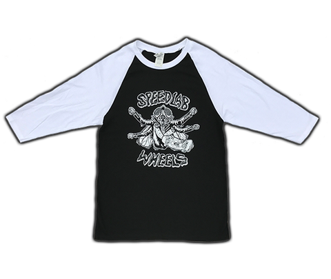 Raglan 3/4 sleeve T-Shirt 'Skate Fly' (Black/White)