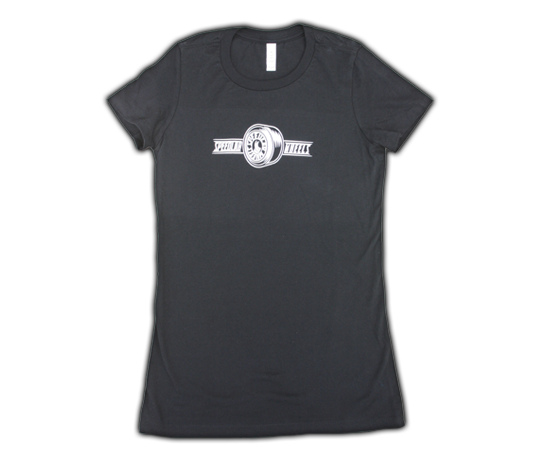 Ladies T-Shirt 'Wheel logo' (short sleeve/black)