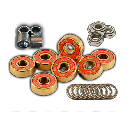 Juju Bearings Blessed Gold Axle-to-Axle Kit = Juju Bearings Blessed Gold (Hybrid Ceramic) + Speedlab Wheels