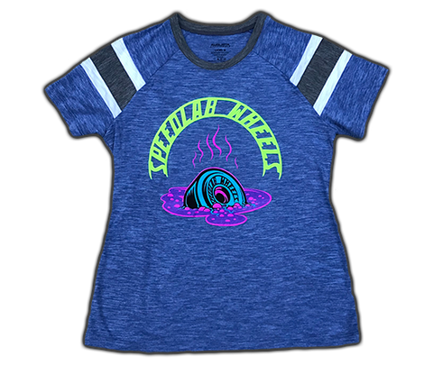 Ladies T-Shirt 'Melting Wheel' (short sleeve/royal)