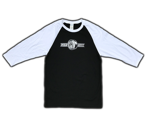 Raglan 3/4 sleeve T-Shirt 'Wheel Logo' (Black/White)