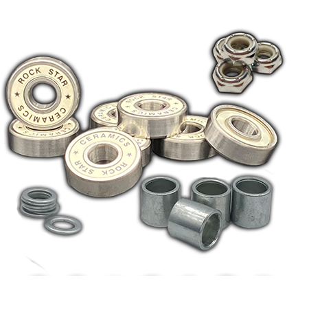 Rock Star Bearings 'White' Axle-to-Axle Kit = Rock Star Bearings Ceramic White Shield bearings + Speedlab Wheels