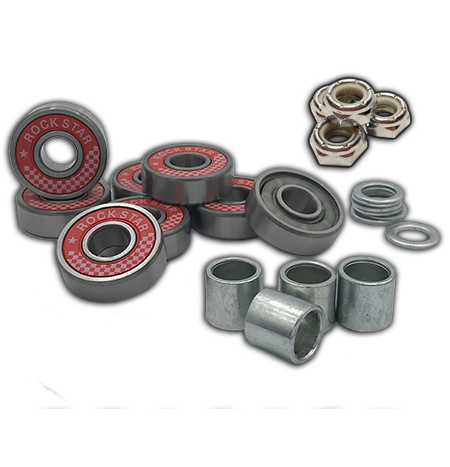 Rock Star Bearings 'Red' Axle-to-Axle Kit = Rock Star Bearings ABEC 9 Red Shield bearings + Speedlab Wheels