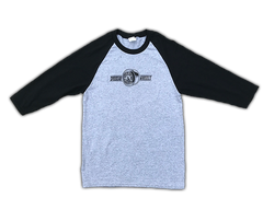 Raglan 3/4 sleeve T-Shirt 'Sitting Pinup' (Grey/Black)