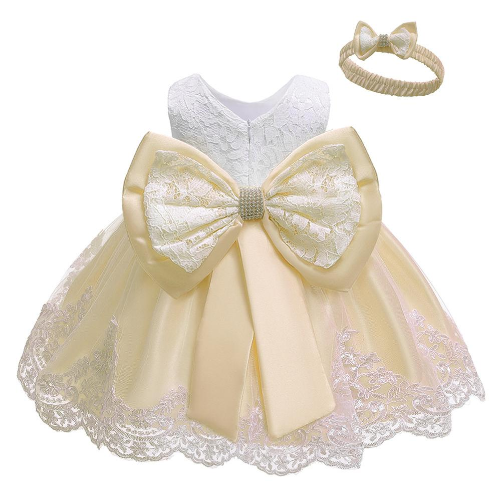 BELS Baby Girls Princess Dress Lace Flower White Party Wedding Summer Dress Clothes