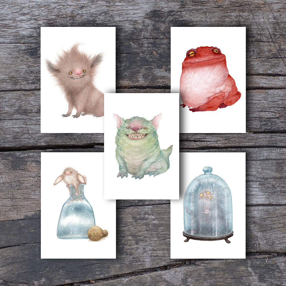 Creature Bundle - 5 Large Greeting Cards