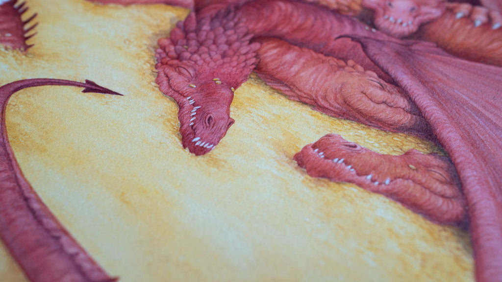 Let Sleeping Dragons Lie - Unframed Original Watercolour Painting