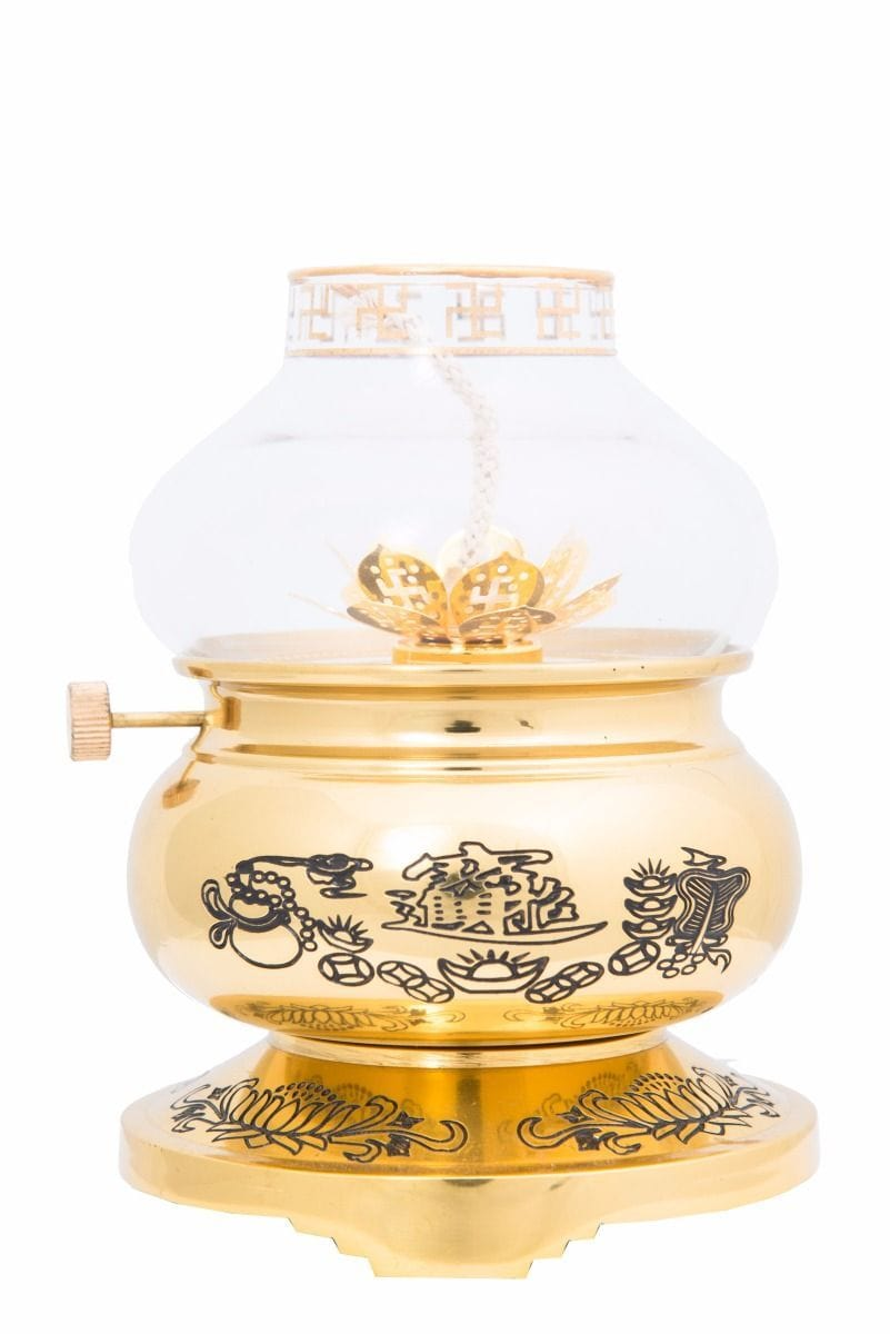 Handcrafted brass oil lamp 24k gold plated