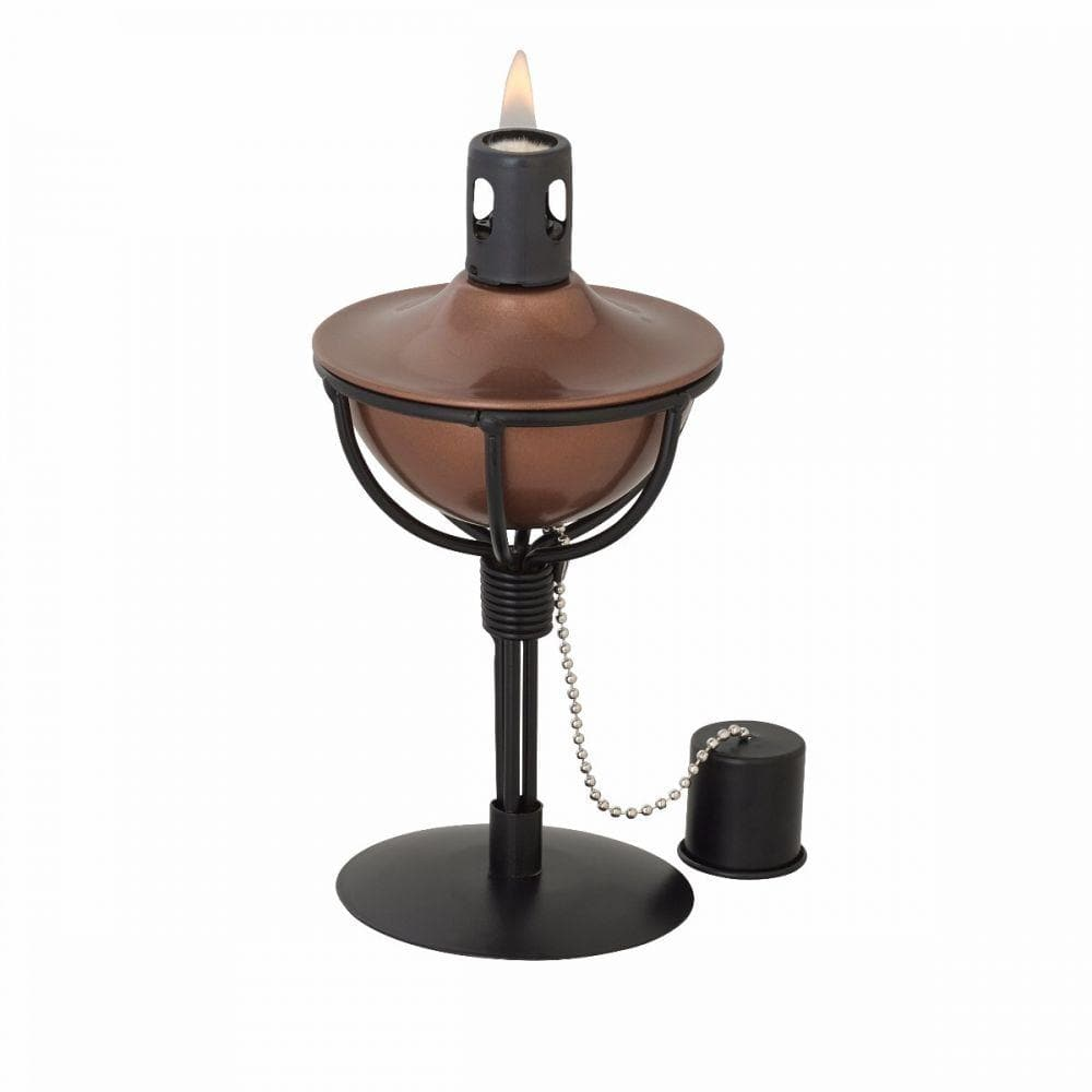 Metal Outdoor Garden Table Top Torch , fibre glass wick & copper Finish & stand