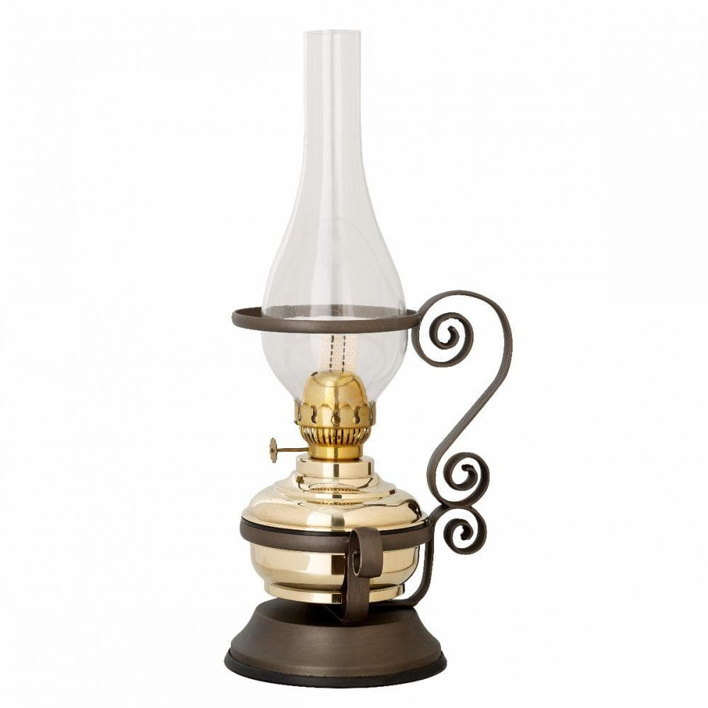Brass Kerosene oil Table Lamp Deco with Metal Stand - Made in Italy