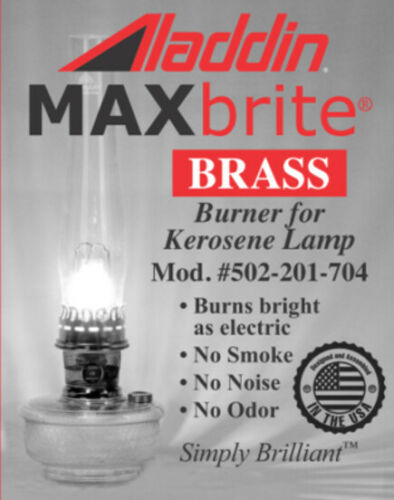 NEW AND IMPROVED ALADDIN LAMP BRASS MAXBRITE 500 BURNER - Wick Included