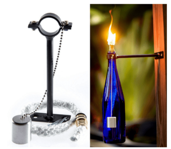Outdoor Wine Bottle Bracket with fibreglass Wick with brass Head For Kerosene & oil