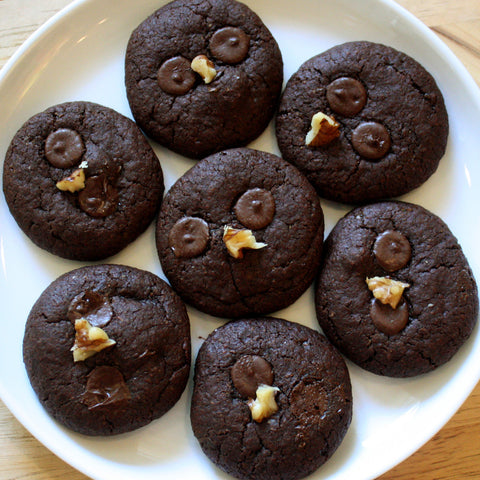 Freshly Baked! Soft and Chewy Gluten-free Double Chocolate Chip Walnut Cookies