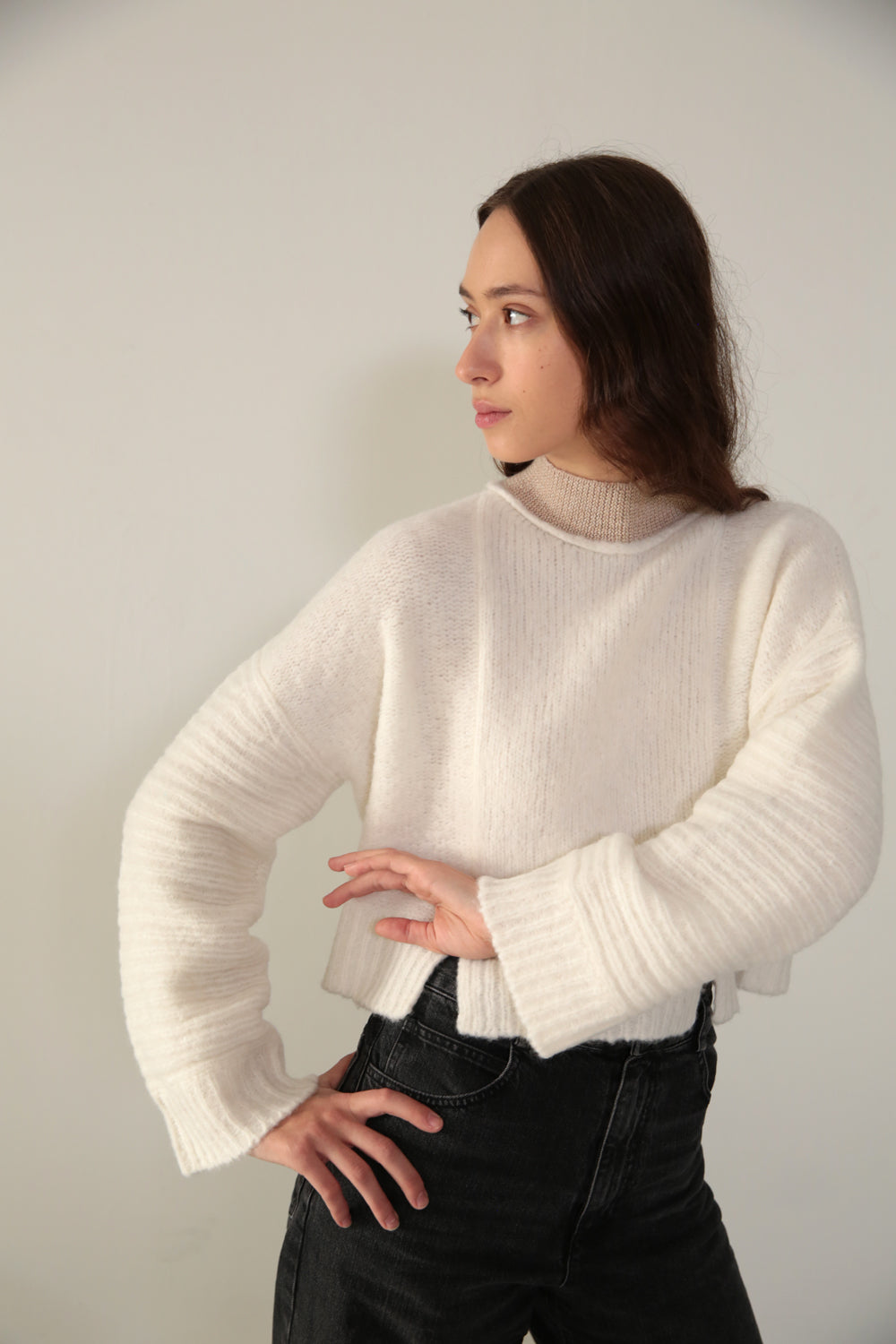 CROPPED PANEL SWEATER - CLOUD