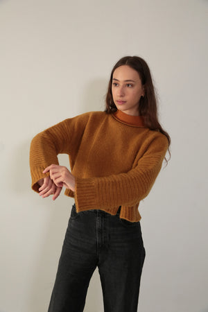 PANEL SWEATER - CURRY W/ CONTRAST NECKLINE