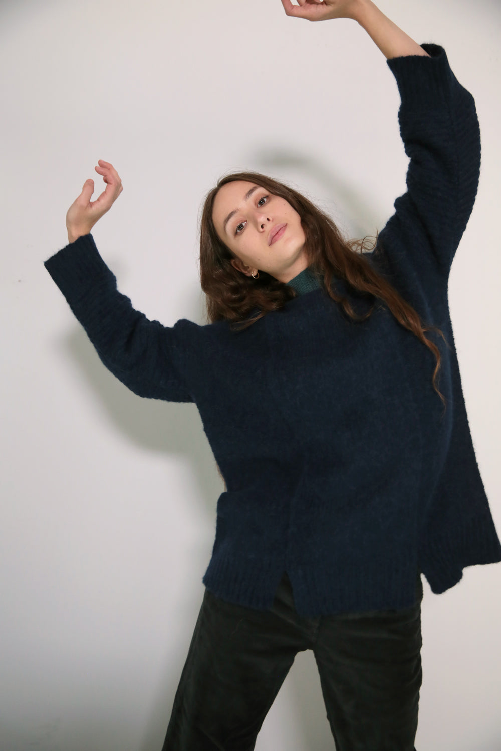 LONG PANEL SWEATER - LAPIS W/ CONTRAST NECKLINE