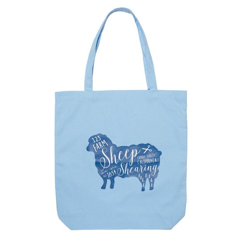 Sheep Shearing Tote - Blue