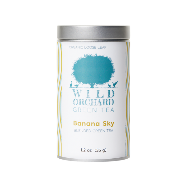 Wild Orchard Green Tea tin of Banana Sky blended green tea.
