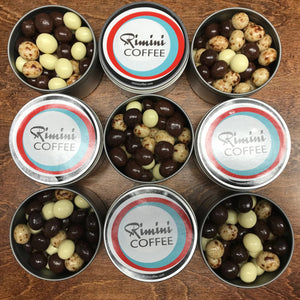 Blend of Semi-Sweet, Milk, and White Chocolate Covered Espresso Beans
