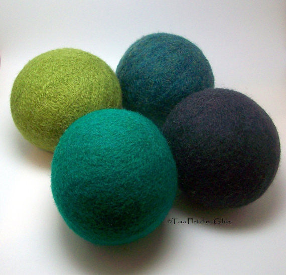 Wool Dryer Balls, forest greens, set of 4