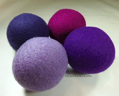 100% Wool Dryer Balls, Grape Vineyard, set of 4