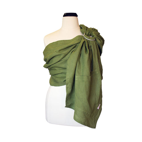 myheartcreative Olive Green Linen Ring Sling