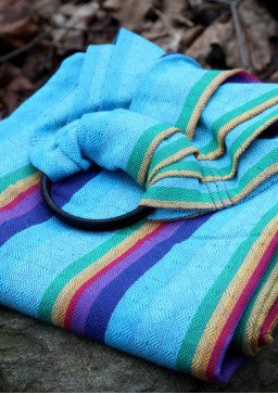 Vanamo Rainbow Ruutu Cotton/linen blend, purple weft, Ring Sling