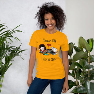 Music ON World OFF • Respect Vinyl • Kurzärmeliges Unisex-T-Shirt