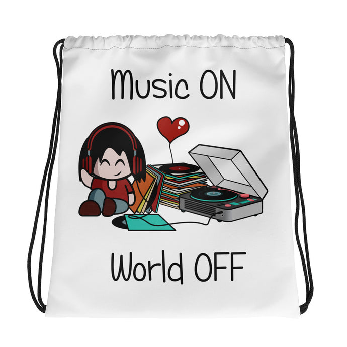 Music ON World OFF • Respect Vinyl • Kordelzugtasche