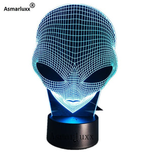 Alien Head 3D Hologram Illusion Lamp
