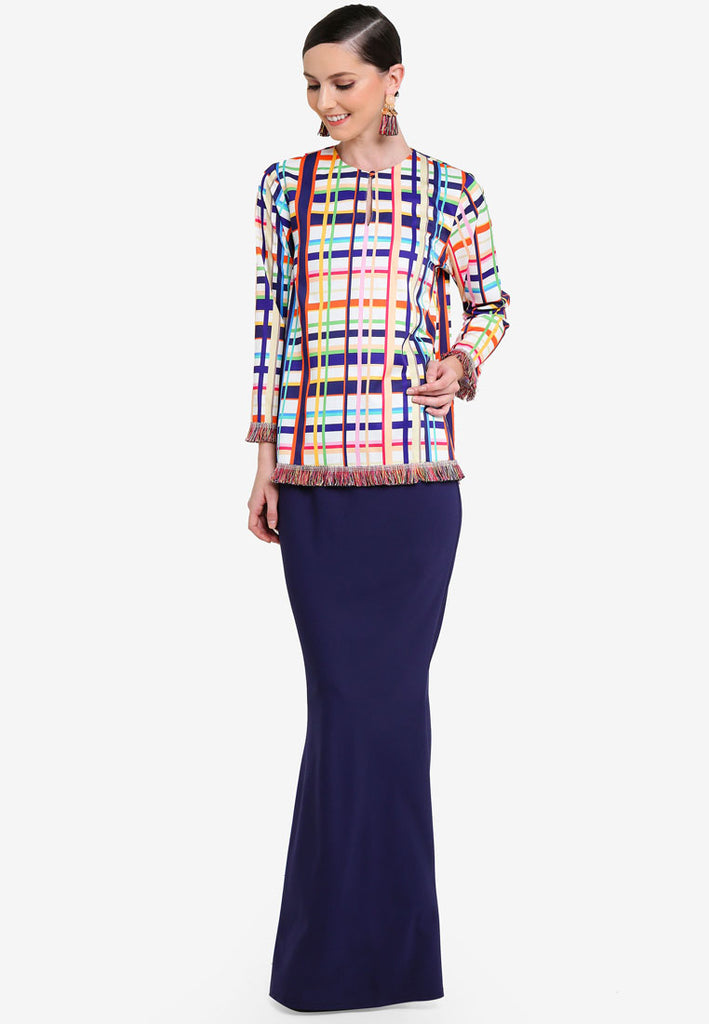 RIO - MINI KURUNG W/ 3/4 SLEEVE WITH FRINGE - MULTI COLOUR