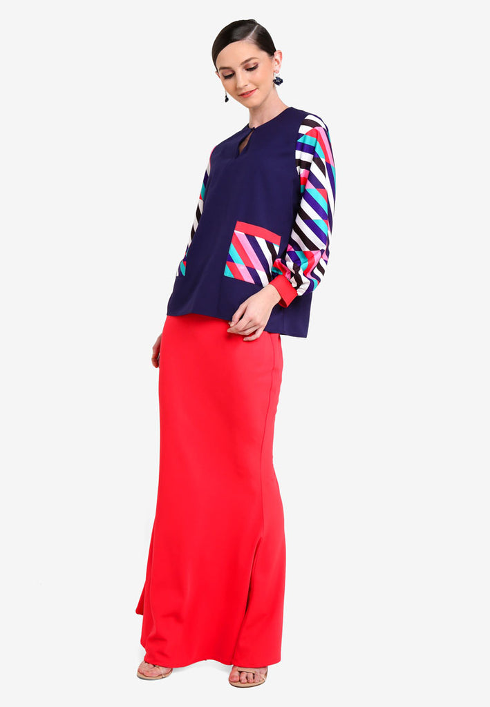 LA BOCA - MODERN KURUNG KEDAH W/ POCKETS AND CUFFS - RED