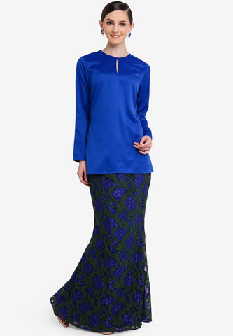 VALENCIA-MINI KURUNG W/ LACE SKIRT - BLUE