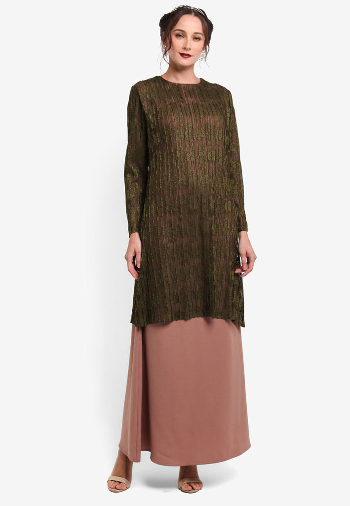 TOULOUSE LACE DRESS / JUBA COMBO - DARK GREEN