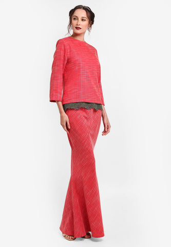 RENNES BAJU KEDAH TOP WITH LACE BORDER - RED