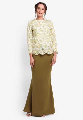 REIMS COTTON LACE MINI KURUNG - DARK GREEN