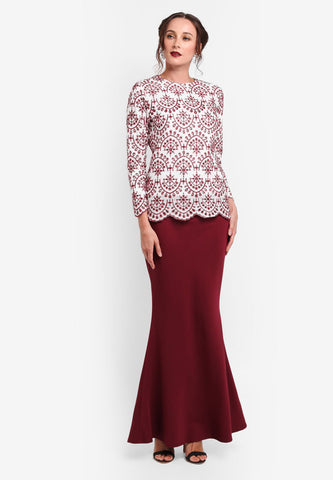 REIMS COTTON LACE MINI KURUNG - MAROON