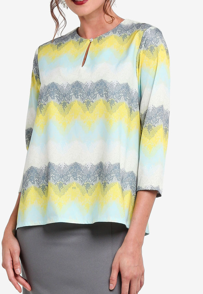LYON MULTI COLOUR PRINTED LACE BAJU KURUNG MODERN TOP  - PRINT