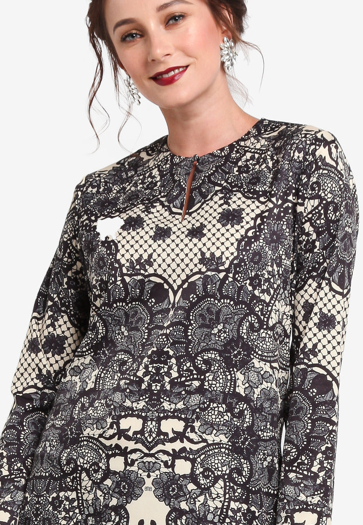 PARIS PRINTED LACE BAJU KURUNG MODERN TOP - BLACK