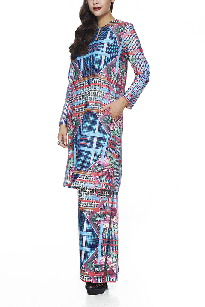 THYME - JACQUARD A-LINE BAJU KURUNG JOHOR WITH INTRICATE BEADINGS AND FRONT PANEL WITH POCKETS (PRINT)