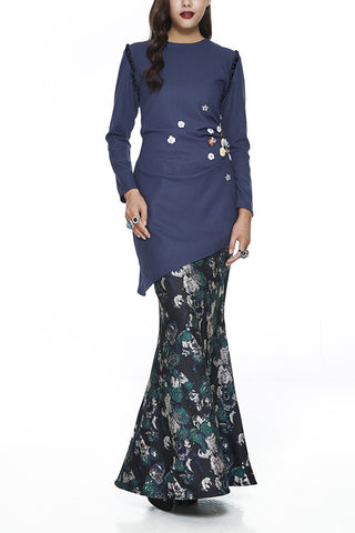 ASSYMETRICAL MODERN BAJU KURUNG | BLUE LAWANG - HEAVILY EMBELLISHED WITH SEQUIN FLOWERS AND STONES IN BLUE BUY EMEL BY MELINDA LOOI