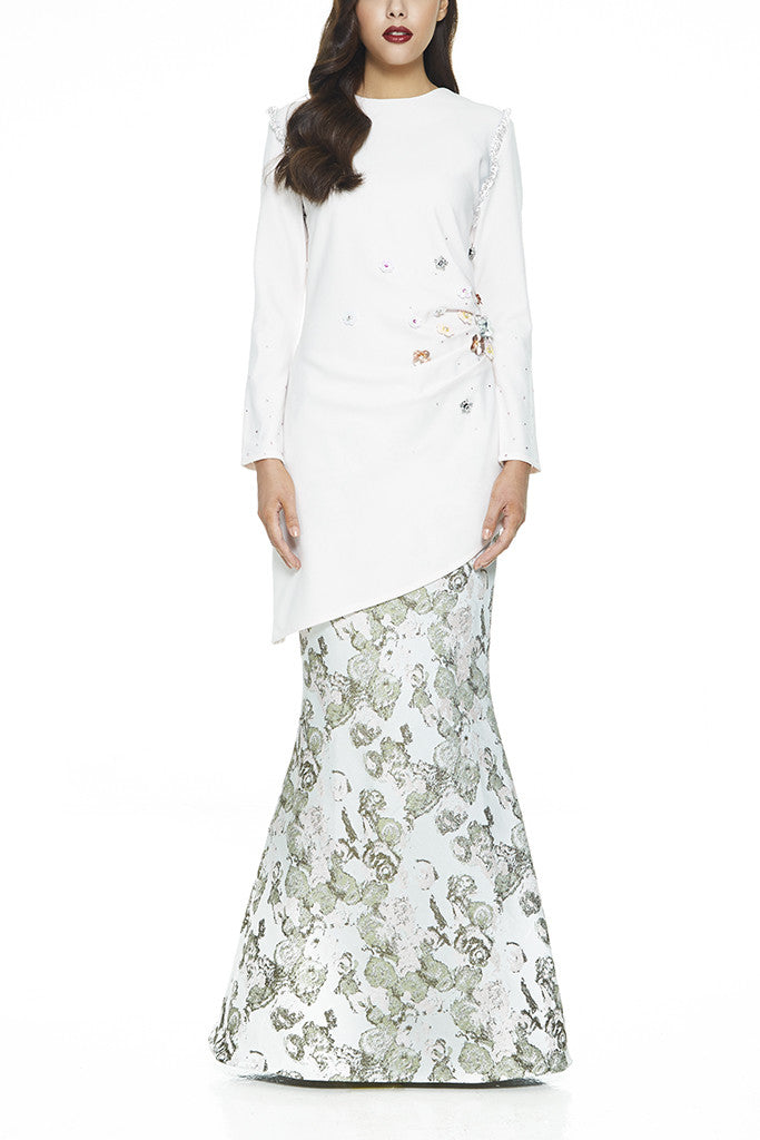 MODERN BAJU KURUNG | WHITE LAWANG - HEAVILY EMBELLISHED WITH SEQUIN FLOWERS AND STONES ASSYMETRICAL (PINK) by EMEL BY MELINDA LOOI