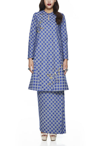 A-LINE BAJU KURUNG | BLUE SAFFRON -  WITH BEADING DETAILING NEAR THE CHEST AND HEM WITH FRONT POCKETS ON THE PANELS OF THE TOP (BLUE) BY EMEL BY MELINDA LOOI