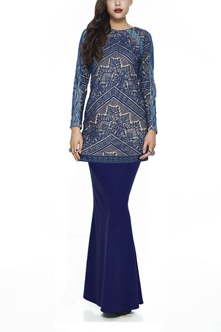 BLUE JINTAN - MODERN BAJU KURUNG WITH 3 VIBRANT EMBROIDERED LACE PANELLINGS (BLUE)