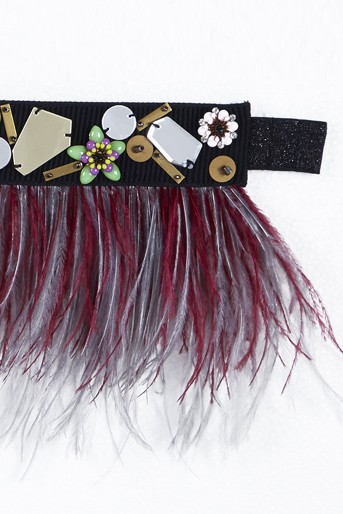 RED DELIMA - FEATHER BELT WITH METAL FLOWERS, ACRYLIC MIRRORS AND BEADING DETAILS (MAROON)