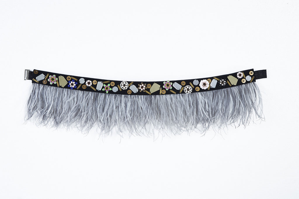 WHITE DELIMA - FEATHER BELT WITH METAL FLOWERS, ACRYLIC MIRRORS AND BEADING DETAILS (WHITE)