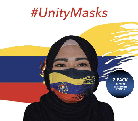 #UnityMasks - Federal Territories Edition Reusable Face Masks (2 Pack: Federal Territories Flag & Malaysian Flag)